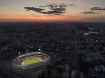 Minsk, Bielorrusia, el 14 de agosto de 2018 - el estadio Olímpico nacional Dinamo es un fútbol multiusos y un estadio atlético ad imagen de archivo libre de regalías