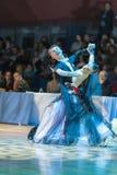 Minsk-Bielorrusia, el 18 de octubre de 2014: Pares no identificados Perfo de la danza Foto de archivo libre de regalías