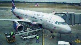 MINSK, BIELORRUSIA - NOVIEMBRE, 25, 2016 Equipaje del avión de pasajeros de Aeroflot Airbus A320 del ruso que es descargado en el almacen de video