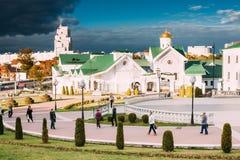 Minsk Bielorrusia Vista de la iglesia de St Kirill Of Turov In Establishing Fotografía de archivo
