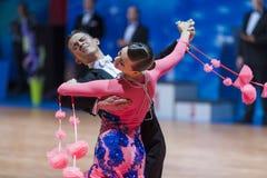 Minsk, Bielorussia 14 febbraio 2015: Coppie professionali di ballo di K Fotografie Stock