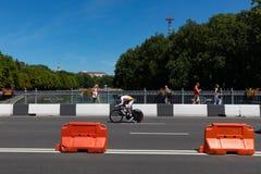 MINSK, BIELORUSSIA - 25 GIUGNO 2019: Il ciclista dal Cipro partecipa agli uomini spaccati inizia la singola corsa ai secondi gioc immagini stock