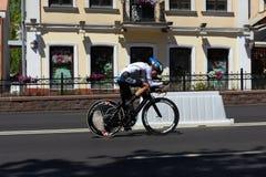 MINSK, BIELORUSSIA - 25 GIUGNO 2019: Il ciclista dalla Germania partecipa a donne spaccate inizia la singola corsa ai secondi gio fotografie stock libere da diritti