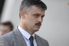 MINSK, BIELORUSSIA - 23 MAGGIO 2018: Il ministero bielorusso di turismo e di sport parla durante la Premier League bielorussa fotografia stock libera da diritti