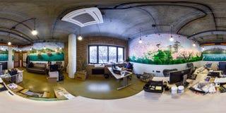 MINSK, BIELORUSSIA - OTTOBRE 2015: panorama senza cuciture completo 360 gradi di vista di angolo nella stanza interna di sostegno fotografie stock
