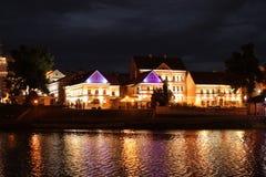 Minsk a capital bielorrussa na noite 2016 fotos de stock
