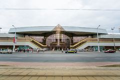 Minsk central railway station in Babruiskaya street front view stock images