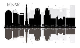 Minsk City skyline black and white silhouette with reflections. Vector illustration. Simple flat concept for tourism presentation, banner, placard or web site vector illustration