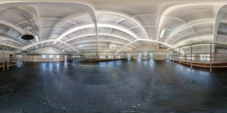 MINSK DISTRICT, BELARUS - MAY 5, 2012: Inside of the interior of the cowshed without the cows. Full 360 degree panorama in stock photos