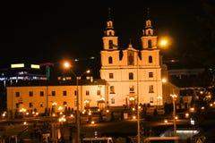 Minsk, la República de Belarús - 18 de noviembre de 2018, otoño: El templo de la pendiente del Espíritu Santo es la iglesia princ imagenes de archivo