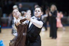Minsk - mag, 19: Het paarjongere van de dans Stock Foto