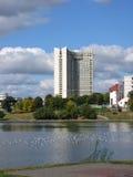 Minsk. Mening bij de hotelbouw Stock Foto's