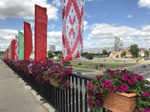 Minsk, Minsk, Belarus 27 June 2017; The city is decorated for the Independence Day stock images