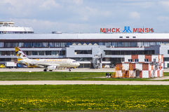 Minsk, Minsk National Airport, Belarus - May 06, 2016: Airbus A3. 19 A6-EID Erihad Airways. aircraft is moving on the background of the airport Stock Photography