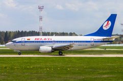 Minsk, Minsk National Airport, Belarus - May 06, 2016: Boeing 73. 7-500 EW-252PA Belavia Airlines Royalty Free Stock Photography