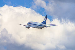 Minsk, Minsk National Airport, Belarus - May 06, 2016: Boeing737. 500 EW-250PA Belavia Airlines taking off with background of blue cloudy sky Royalty Free Stock Photos