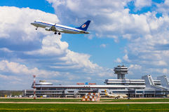 Minsk, Minsk National Airport, Belarus - May 06, 2016: Embraer E. RJ-175LR EW-341PO Belavia Airlines taking off on the background of the airport Royalty Free Stock Photography