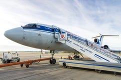 Minsk, Minsk National Airport, Belarus - Oct 01, 2016: Tupolev T. U-154 EW-85741 Belavia Airlines before flight to Gomel Royalty Free Stock Images