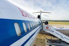 Minsk, Minsk National Airport, Belarus - Oct 01, 2016: Tupolev T. U-154 EW-85741 Belavia Airlines preparing before flight to Gomel Royalty Free Stock Photo