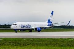 Minsk, Minsk National Airport, Belarus - September 06, 2017: Boe. Ing 737-800 EW-455PA Belavia Airways in new livery Stock Image