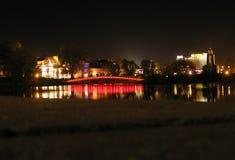 Minsk nella notte, Bielorussia, predmestie di Troickoe Fotografie Stock Libere da Diritti