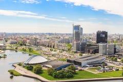 Minsk Nemiga sportslott, galleri, kunglig Plaza, airview Vitryssland Maj 20, 2017 arkivbilder