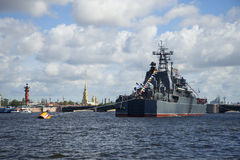 Minsk in the Neva river near the Palace bridge. Navy day in St. Petersburg Stock Photography