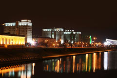 Minsk at night. View on Pobediteley Avenue in Minsk Stock Photos
