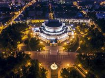 Minsk at night with Belarusian Bolshoi Theatre and urban architectures. Minsk, Belarus – September 01, 2018: Minsk at night with Belarusian Bolshoi royalty free stock photography