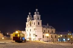 Orthodox cathedral in evening Minsk, Belarus stock images