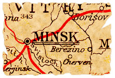 Minsk old map. Minsk, Belarus on an old torn map from 1949, isolated. Part of the old map series Stock Photography