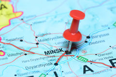 Minsk pinned on a map of europe Stock Image