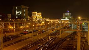 Minsk railway station at night. Dolly, time lapse shot in motion.  stock video footage