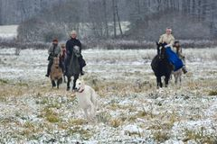 Re-enactment of the traditional hunting with russian wolfhounds. Minsk region, Belarus - November 5: Historical reconstruction of the traditional hunting with Royalty Free Stock Photo