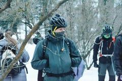 Minsk-Region Weißrussland am 27. Januar 2018 Querfeldein- und Querfeldeinradfahrenwettbewerbe im Winter Lizenzfreie Stockbilder
