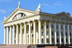 Minsk, Republic of Belarus o palácio da cultura dos sindicatos é a casa da cultura do sindicato de Bielorrússia, o centro fotografia de stock