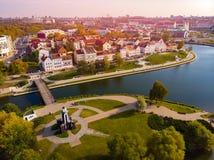 Minsk, Republik Belarus Draufsichtluftbrummen lizenzfreie stockbilder