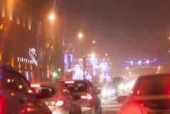 Minsk, republika Białoruś na Grudniu 21, 2017 czas jest 21:30 Bardzo ciężki śnieg, korek Wieczór Minsk w wigilię nowego yea Zdjęcia Royalty Free