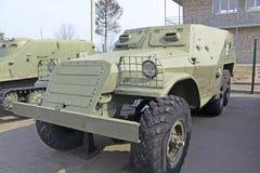 _ minsk Sovjetisk gammal BTR-40 i den museumStalin linjen Royaltyfri Bild