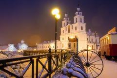 Minsk stadslandskap i vinterafton arkivbilder