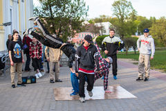 Minsk street dacers performing break dance Royalty Free Stock Photography