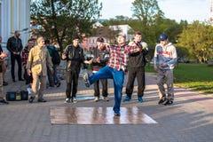 Minsk street dacers performing break dance Stock Photo