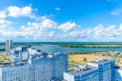 Minsk streets from a bird`s-eye view. Stock Photos