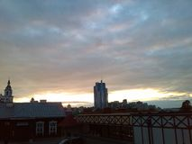 Minsk. Sunset. Gloomy skies. Clouds. Sun. Sky. Royalty Free Stock Image