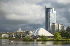 Minsk: Svislochi invallning nära Nyamiha royaltyfria bilder