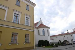 Minsk Upper Town, historical city center. People resting in the old part of the city of Minsk royalty free stock photos