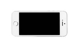 Minsk Vitryssland - April 16, 2016: Apple iPhone 5, 5S Vit versi Arkivbilder