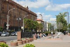 MINSK VITRYSSLAND - AUGUSTI 01, 2013: Lenin gata i Minsk Royaltyfria Foton