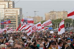 Minsk, Belarus - October 04, 2020. March for the release of political prisoners. Tens of thousands of Belarusians at a protest
