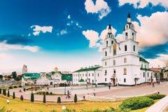 Minsk, Vitryssland Domkyrka av den heliga anden berömd landmark royaltyfria bilder